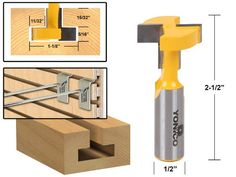 Yonico 14189 T-Slot and T-Track Slotting Router Bit 1/2-Inch Shank