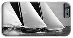 Skutsjes sailing vessels in the midst of a regatta iPhone 6 Case. Skutsje sailing race held in Holland with 14 Skûtsjes. The sailing ships have an average age of 100 years.  Sailing vessel regatta is also known as Skûtsjesilen.  Sailing with strong winds and dark, bad weather. Three skutsjes. Sailing vessels shot in Black & White.  This image is also available at 'Fine Art America' as print.
