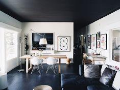 Черный потолок в интерьере