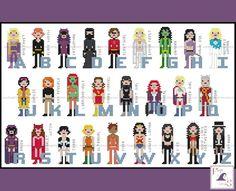 Girl Power Superhero Comic Book Alphabet Cross by FangirlStitches