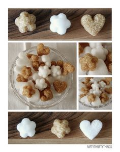 "DIY sugar cubes: can be shaped & colored to match theme; also make great favors, esp. for tea parties, or small gift; I bet this would work w/ erythritol & xylitol too (teeth-shaped xylitol ""cubes""?)--both better for diabetics and tooth-friendly"