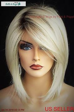 & Pale Champagne Blond& Once your hair is nice and safely tucked away, you& ready to apply your new wig& Starting at the front of your wig, place the front of the wig against your forehead and slide the wig back and down over the back of your head & Hair Styles 2016, Medium Hair Styles, Curly Hair Styles, Short Thin Hair, Straight Hair, Long Wigs, Layered Hair, Hair Highlights, Golden Highlights
