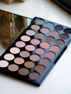 Makeup Revolution Flawless Matte 32 Eyeshadow Palette Review LOTS of neutral, muted mauvey-tones. #makeupproducts