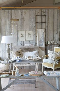 Inspiration: Tilda's World - I love this shot of a 'Beach-Side' Cottage. Such soft, summer colors. Esp like the rope ladder.