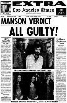 1971 Charles Manson convicted of murder. Was Charles Manson the smartest serial killer of his time or was he just lucky? After a life of crime he was convicted of first degree murder on January 1971 Charles Manson, Newspaper Article, Old Newspaper, Newspaper Headlines, Criminology, Serial Killers, True Crime, World History, American History