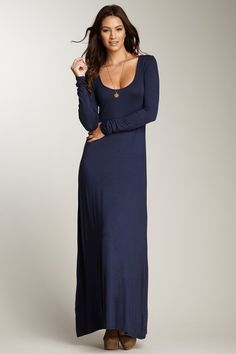 Long Sleeve Maxi Dress...little higher in the collar and it would be perfect!