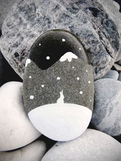 WINTER BUNNY PAINTED ROCK
