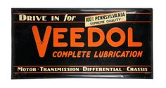 Huge Original Veedol Motor Oil Metal Sign