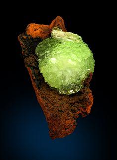 Sparkling Adamite pinwheel on brown Limonitic matrix, Mexico / Mineral Friends <3