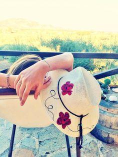 Handpainted hat !!!!Red flowers!!!!!By Sissy Marinou