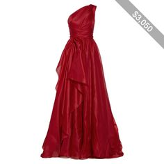 One-shoulder draped silk-gazar gown