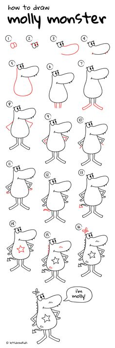 How to draw Molly Monster. Easy drawing, step by step, perfect for kids! Let's draw kids. http://letsdrawkids.com/
