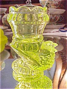 Boyd Vaseline Carnival Glass Bird Toothpick Holder