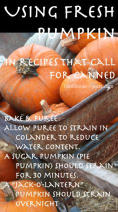 Replacing Canned Pumpkin with Fresh @ Traditional-Foods.com