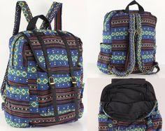 Hipster bleu / jaune sac à dos sac à dos aventure par TaTonYon