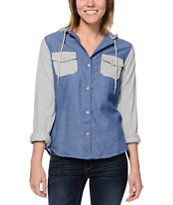 Empyre Exeter Confetti Blue Chambray & Grey Hooded Shirt 29.95 ZUMIEZ