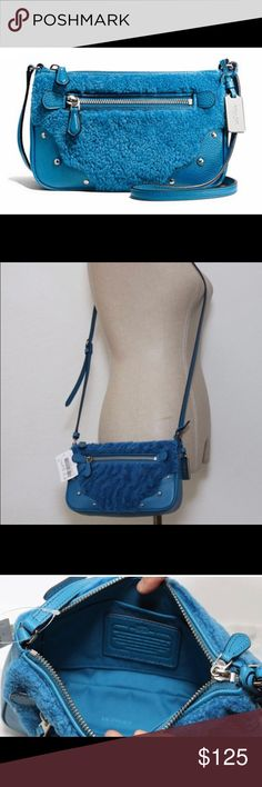 "NWT Coach Small Rhyder Pochette Peacock Leather Leather Inside zip pocket and multifunction pockets Zip top closure  Outside zip pocket Fabric lining Adjustable strap 24"" drop for crossbody or  shoulder wear Retail $195 Coach Bags Crossbody Bags"