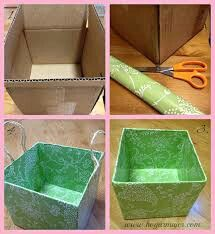 DIY: Containers with cardboard boxes Cardboard Storage, Cardboard Crafts, Cardboard Boxes, Baby Room Storage, Diy Storage, Diy Home Crafts, Diy Arts And Crafts, Earthy Home Decor, Easy Diy