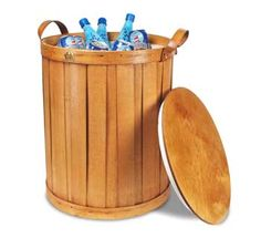 check these out - wicker coolers.  They have a short version that serves as a seat, too.   See www.peterborobasket.com
