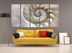 Sea Shell wall art, seashell canvas print 5 pieces, seasc...