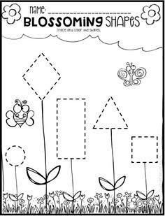 Spring Math and Literacy Worksheets for Preschool is a no prep packet packed full of worksheets and printables to help reinforce and build literacy and math skills in a fun, engaging way. This unit is perfect for the months of March and April. Printable Preschool Worksheets, Shapes Worksheets, Kindergarten Math Worksheets, Worksheets For Kids, Kindergarten Rocks, Printable Shapes, Homeschool Worksheets, Tracing Worksheets, Free Printable