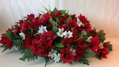Premium Poinsettia Headstone Spray for Christmas