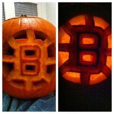 Boston Bruins Halloween pumpkin