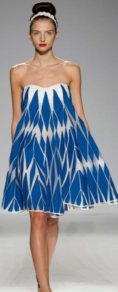 Blue geometry strapless dress | Paola Frani  Spring 2014...I love this dress..it's so cute!!!