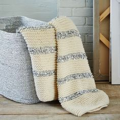 Knitted Sequins Throw - Ivory | west elm