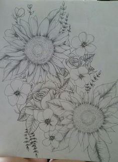 Sunflowers and roses, possible tattoo #armtattoos
