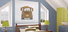 Mater from Cars movie on a window treatment (cellular shade) This is adorable! Who knew there were shades like this?