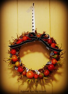 Made this Autumn Rose Hip Wreath today from fresh cut rose hips in the gardens! Ornament Wreath, Ornaments, Autumn Rose, Gardens, Wreaths, Fresh, Flowers, Decor, Decoration
