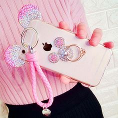 Phone Case-Cute Bling Diamond Phone Case With Finger Ring
