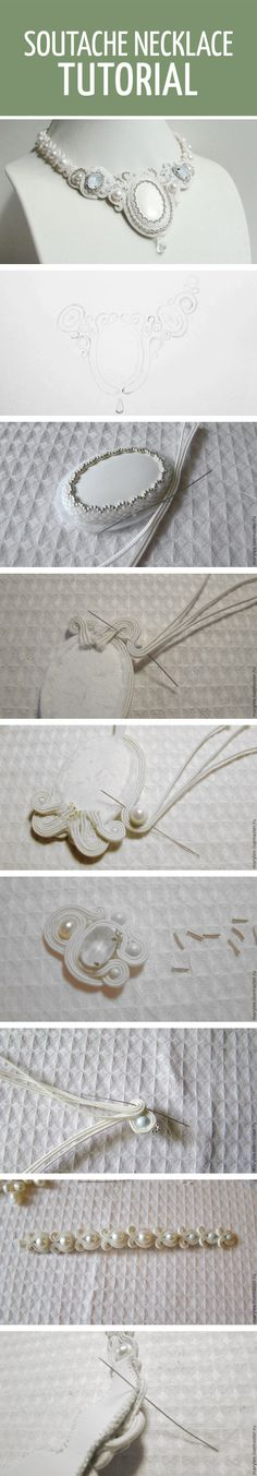 Soutache necklace tutorial / Делаем нежное сутажное колье «Полёт над облаками»