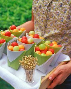 colorful melon balls...cute idea & presentation for cocktail hour for a wedding in capri