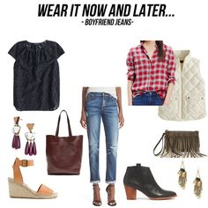 jillgg's good life (for less) | a style blog: wear it now and later: boyfriend jeans!