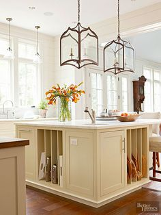 Keep serving pieces in their rightful place with a custom storage kitchen island.