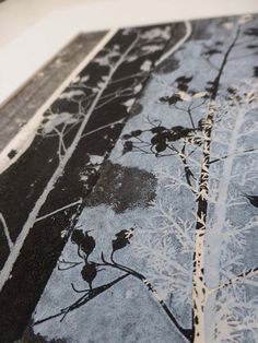 Dusky sky blue and black ink. A beautiful small original fine art botanical monoprint. Botanical Illustration, Botanical Prints, Illustration Art, Illustrations, Textiles, Textile Prints, Art Prints, Country Cottage Garden, Inspiration Artistique