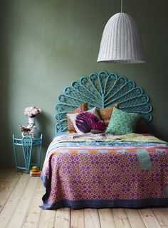 peacock themed colors and headboard