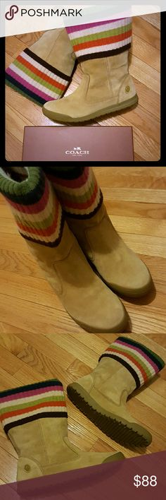COACH Beige suede leather colored wool Boots 7.5 Excellent Condition (True Size 7.5) Super cute!  Authentic Coach mid calf flat boots Foldable stripped colored - Beige cream Rubber soles  size 7.5 Coach Shoes Winter & Rain Boots