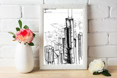 Chicago Skyline Architecture Sketch  Original artwork