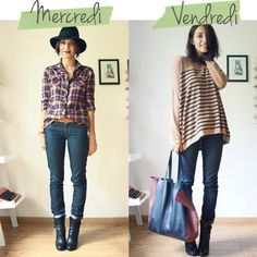Like the outfit on the left. Just add a black blazer or coat.  Hat Spring, Shirt Pimkie, Belt H&M, Boots Balenciaga