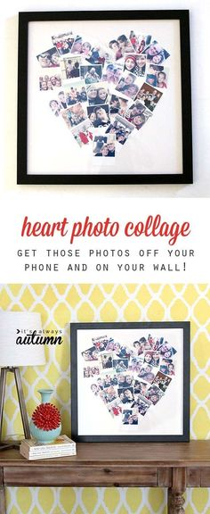 Cool DIY Photo Projects and Craft Ideas for Photos - Heart Photo Display - Easy Ideas for Wall Art, Collage and DIY Gifts for Friends. Wood, Cardboard, Canvas, Instagram Art and Frames. Creative Birthday Ideas and Home Decor for Adults, Teens and Tweens #artsandcraftshomes, #EverydayArtsandCrafts
