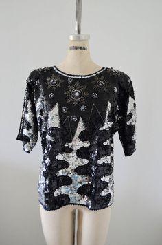 Vintage IRIS Bejeweled Sequined Beaded Edge Radio Frequency Wave Design Silver Black Top Blouse Raglan Sleeve by cougarvintage on Etsy