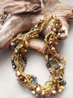 Multi strand necklace, statement necklace, spring, green, gold, brown, classy, earthy, chunky, woven, twisted, art: April Forest
