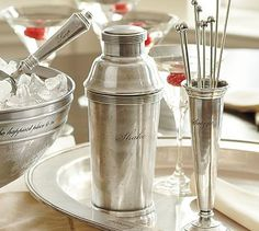 Antique-Silver Cocktail Shaker #potterybarn- Love the cocktail stirrers
