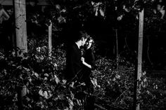 Moody black and white portrait of young couple in vineyard | The Goat Farm Arts Center | Elyse Jankowski Photography | Atlanta Georgia Wedding & Engagement Photographer