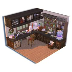 Not another dollhouse challenge build: hat making room from Mo .Not another dollhouse challenge build: hat making room from Moving Castle Sims Free Play, Sims 4 House Design, Sims House Plans, Casas The Sims 4, Sims Building, Sims 4 Build, Sims 4 Game, Moving House, Sims 4 Mods
