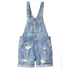 🎉HOST PICK🎉GAP shortalls size XS Adorable and versatile!! These distressed shortalls are super comfy. Side zip to get them on and off easily. GAP Jeans Overalls
