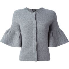 Emporio Armani Flared Sleeves Cardigan ($281) ❤ liked on Polyvore featuring tops, cardigans, grey, grey cardigan, flared sleeve top, gray cardigan, gray top and grey top